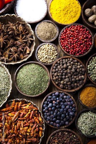 Foto op Canvas Kruiden Exotic Spices, orintal cuisine vivid theme