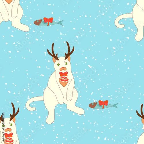 Aluminium Prints Submarine Christmas seamless pattern.
