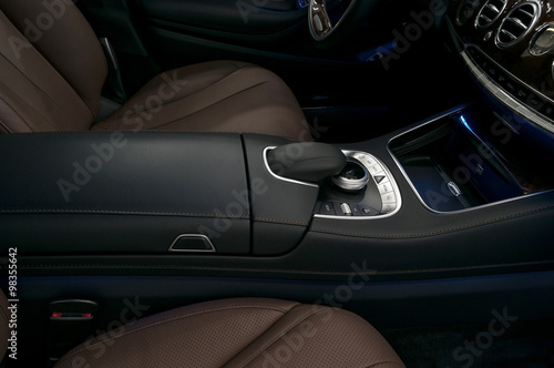 Luxury car interior background. Dashboard control buttons. Canvas Print