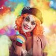 Joyful and colorful clown