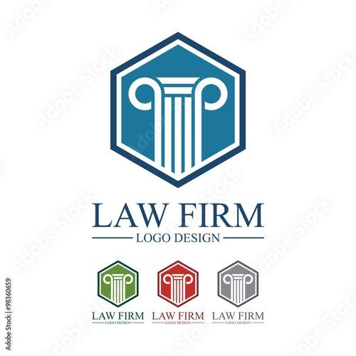 Law Firm Logo, Law Firm Pillar Hexagon Design Logo Vector