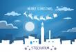 Santa Claus Sleigh Reindeer Fly Sweden Sky over Stockholm City