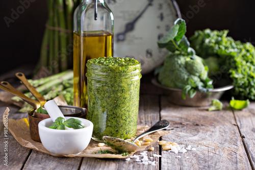 Canvas Print Jar with homemade pesto sauce