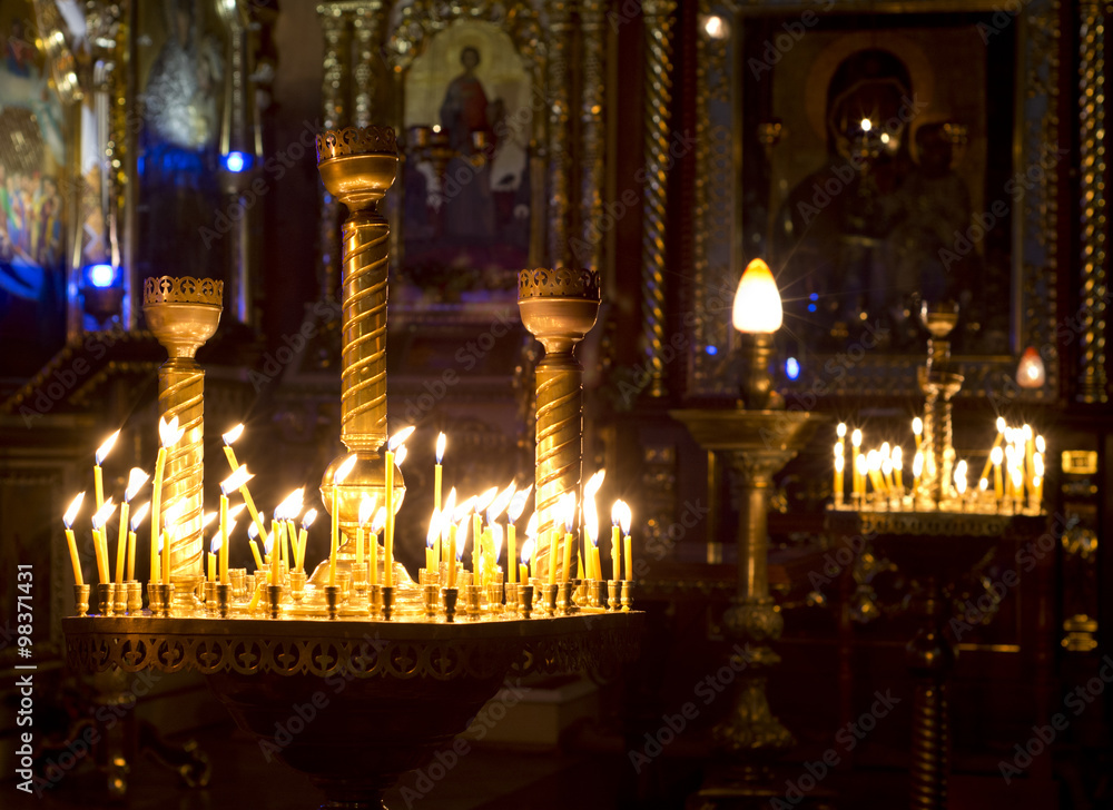 Fototapety, obrazy: Prayer Candles in orthodoxy church