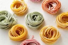 Color Pasta On White Background