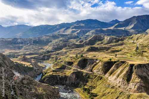 Fotobehang Canyon Panoramic view in the Colca Canyon, Peru