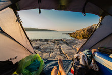 View From Tent On Stone Beach In Croatia.