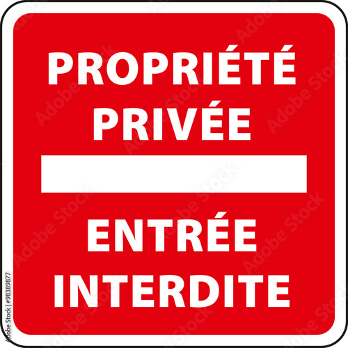 Fotografie, Obraz  Panneau propriété privée