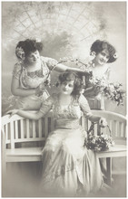 Old Photo  Of  Three Young Women