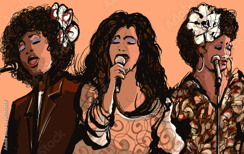 Acrylic Prints Art Studio Three women jazz singers