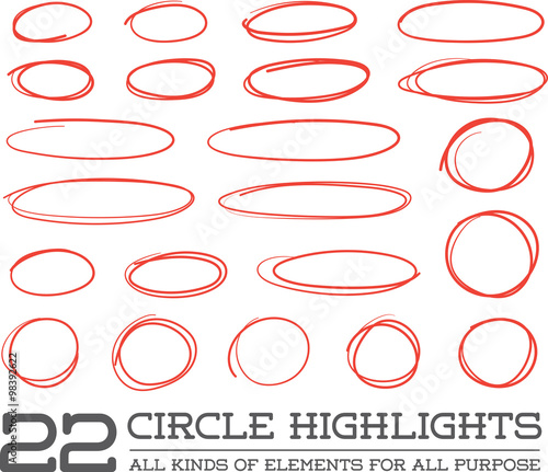 Red Hand Drawn Circles Rounds Bubbles Set Collection in Vector Wallpaper Mural