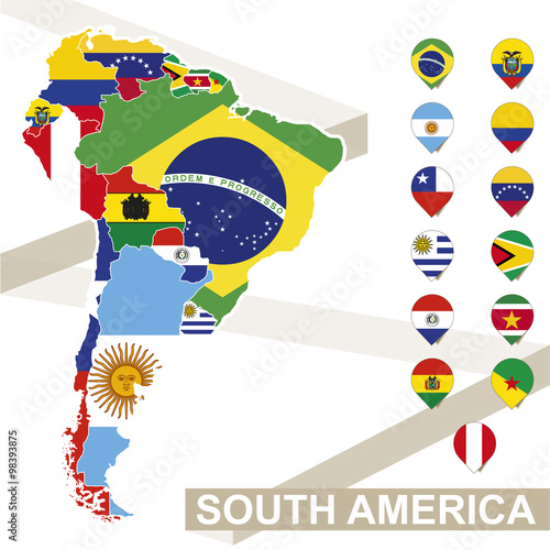 Fotografía  South America map with flags, South America map colored in with their flag