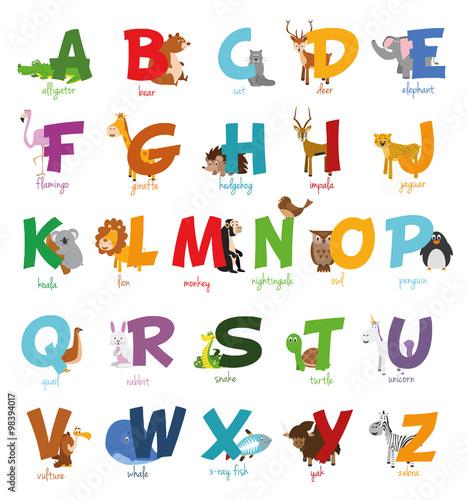 Ilustración de vector Alfabeto ilustrado con animales para niños ...