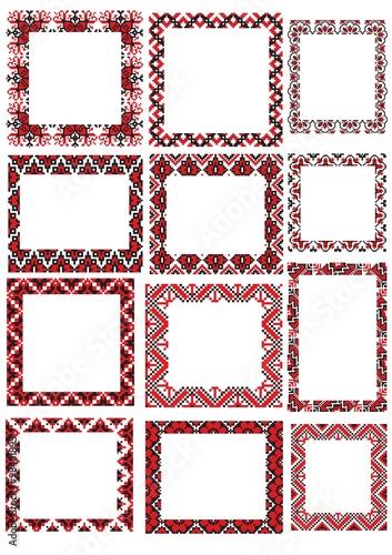 Fotografija  set of Ukraine frame from folk pattern