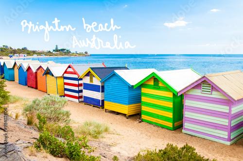 Poster Australie Bathing boxes at Brighton Beach, Australia with hand written text
