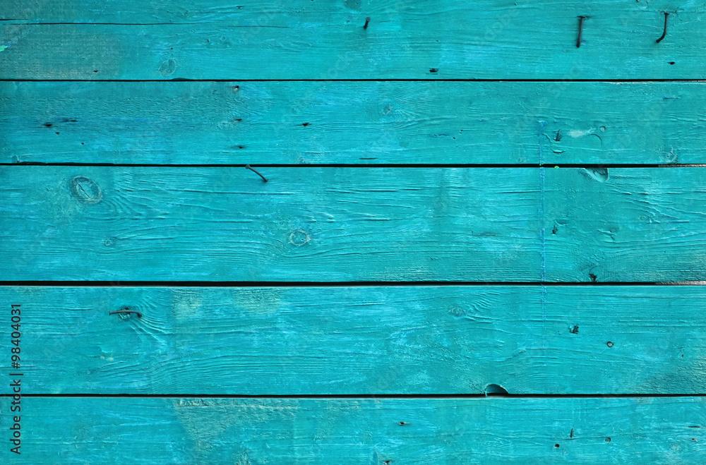 Fototapeta Blue vintage painted wooden panel with horizontal planks