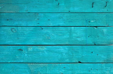 Blue Vintage Painted Wooden Panel With Horizontal Planks