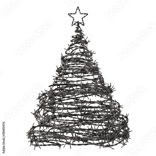 Christmas Tree Made From Barbed Wire Wallpaper Mural