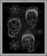 snowman's face on a blackboard