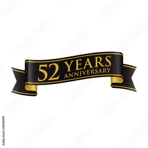 Fotomural Simple Black Gold Ribbon Anniversary Logo 52