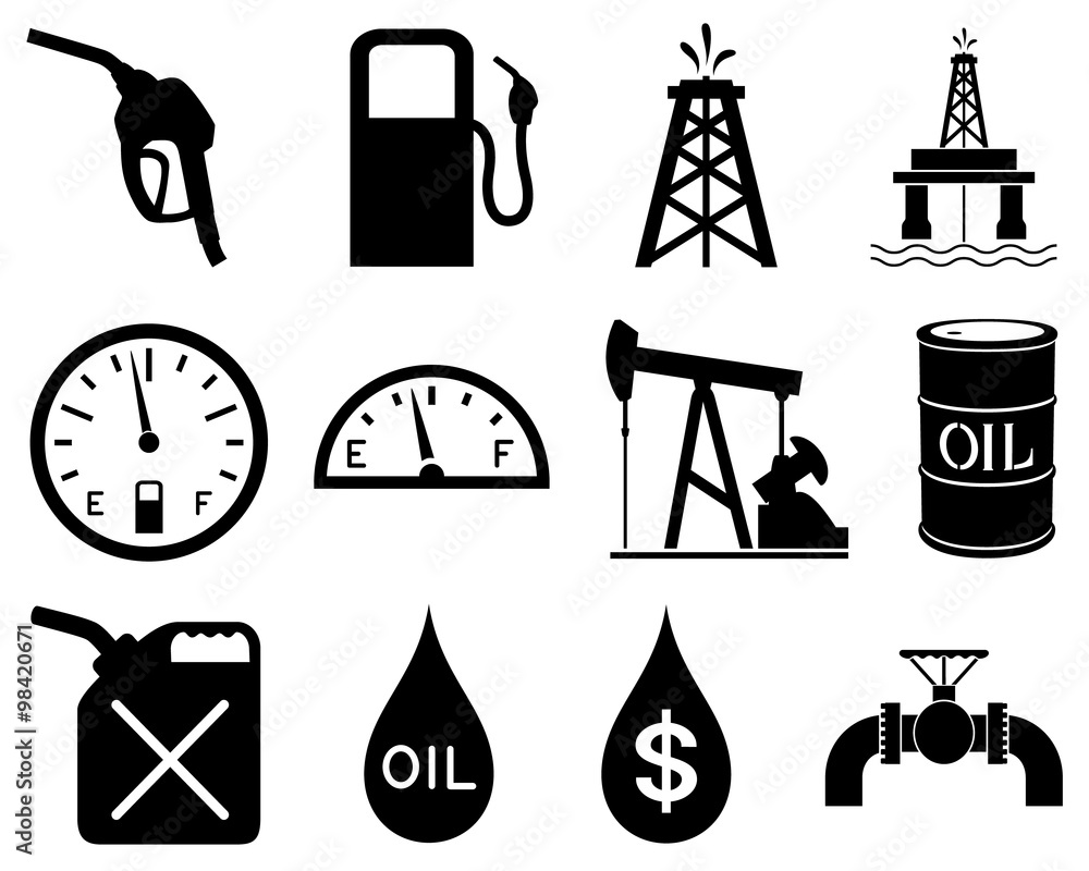 Fototapety, obrazy: Vector illustration of a set of black and white icons representing the oil and gas industry.