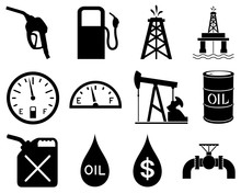Vector Illustration Of A Set Of Black And White Icons Representing The Oil And Gas Industry.