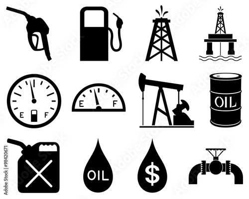 Fototapeta Vector illustration of a set of black and white icons representing the oil and gas industry. obraz