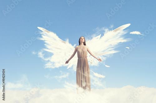 Angel girl flying high Fototapet
