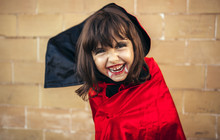 Portrait Of Little Girl Masquerade As Vampire