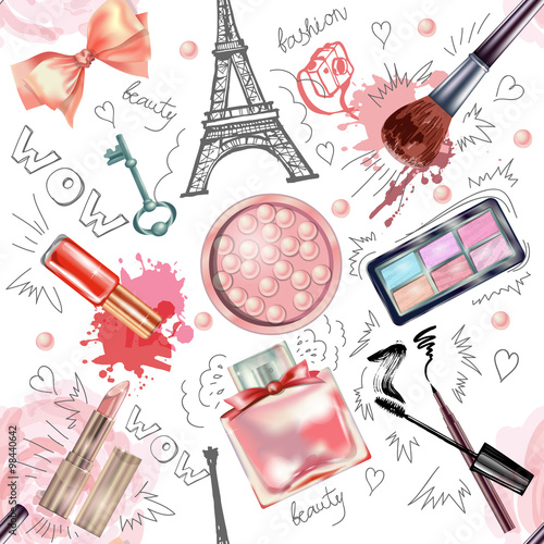 Cotton fabric Seamless cosmetics  and fashion background  with  make up artist objects. Vector illustration.