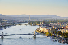 Hungary, Budapest, View To River Danube, Chain Bridge And Parliament Building, Margaret Bridge And Margaret Island