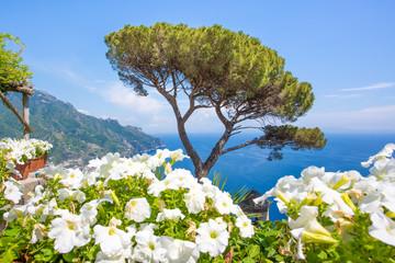 Fototapeta Morze Ravello, Amalfi Coast. Panorama. Scenic view of the seaside from Villa Rufolo