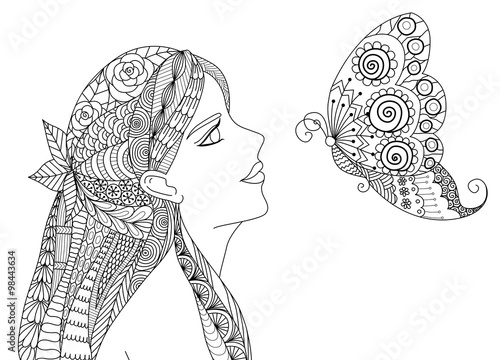 Zentangle pretty girl looking at flying butterfly design for coloring book for a Tableau sur Toile