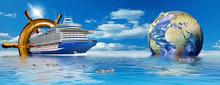 Kreuzfahrtschiff Mit Globus Und Steuerrad, Werbebanner