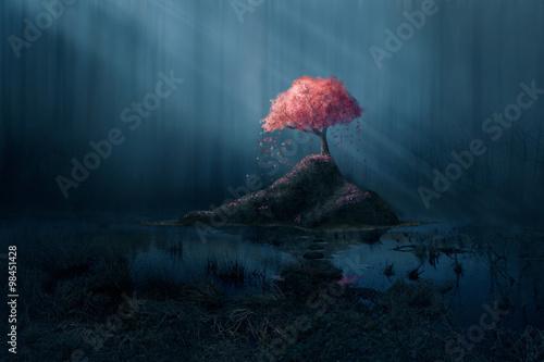 Fototapeta Pink tree in blue forest