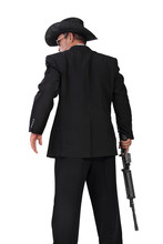 Hitman With A Gun Back-shot Photo, Isolated On White