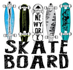 Fototapeta Do pokoju młodzieżowego Skate board typography, t-shirt graphics, vectors