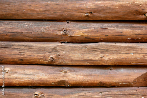 Fotografia  Rustic Log Cabin Wall Background
