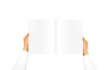 Hand In White Shirt Sleeve Holding Blank Journal In The Hand. Empty Magazine Presentation. Pamphlet Hand Man. Man Show Pages. Sheet Template. Booklet In Hands. Book Design. Catalog Sheet Display.