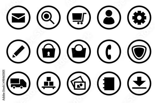 Fotografie, Obraz  Piktogramm Icon Set: Ideal für Shops mit den häufig verwendeten Icons und Piktog