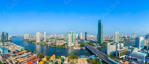 Poster Bangkok Landscape of River in Bangkok city with blue sky