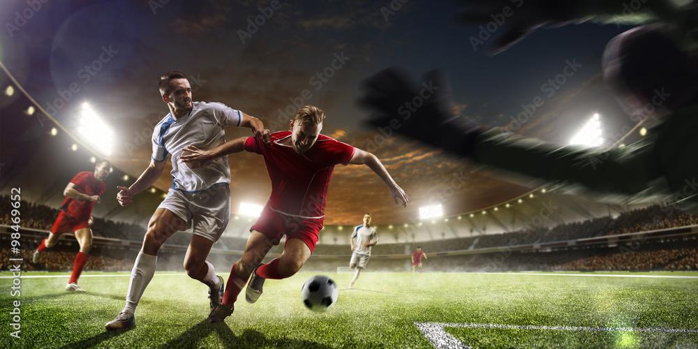 Foto-Flächenvorhang ohne Schienensystem - Soccer players in action on sunset stadium background panorama