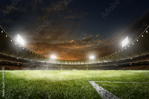 Fotografie, Obraz  Empty night grand soccer arena in lights