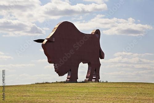 Photo  Sculpture of aurochs near motorway M-1 in Petkovichi village