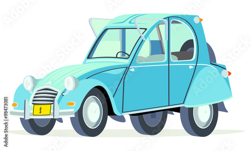Photo Caricatura Citroen 2CV Citroneta Chile azul vista frontal y lateral