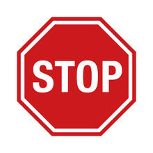Red Stop Sign Icon With Text F...