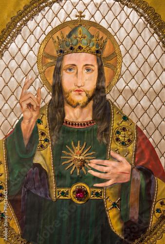 Brussels - Needelwork of Jesus Christ heart on the old catholic vestment Slika na platnu