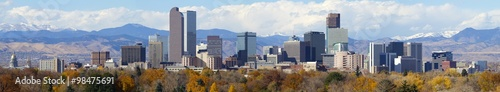 Obraz Denver, Colorado Skyline. Very large panorama of downtown Denver with Rocky Mountains in the background. - fototapety do salonu