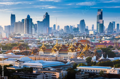 Canvas Prints City building Sunrise with Grand Palace of Bangkok, Thailand