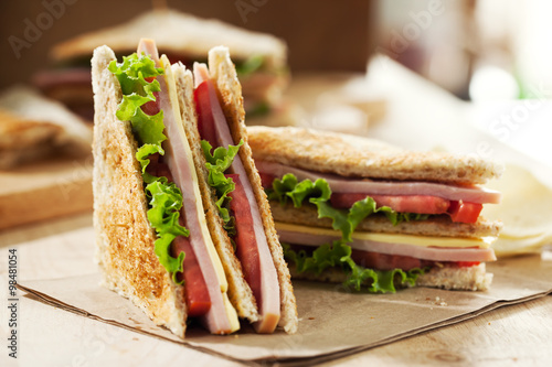 homemade club sandwich for meal Fototapete